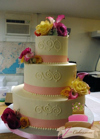 (1009) Scroll Wedding Cake with Pink Ribbon