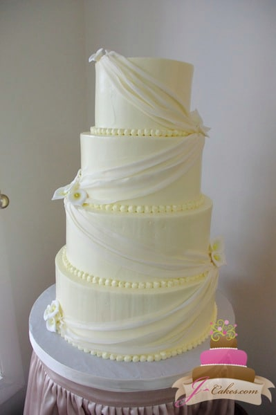 (1126) White Fondant Swag Wedding Cake