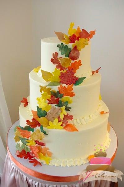 (1129) Autumn Leaves Wedding Cake