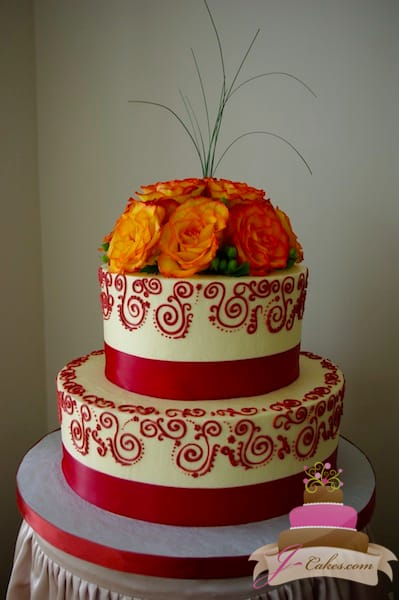 (1091) Red Henna Scroll Wedding Cake