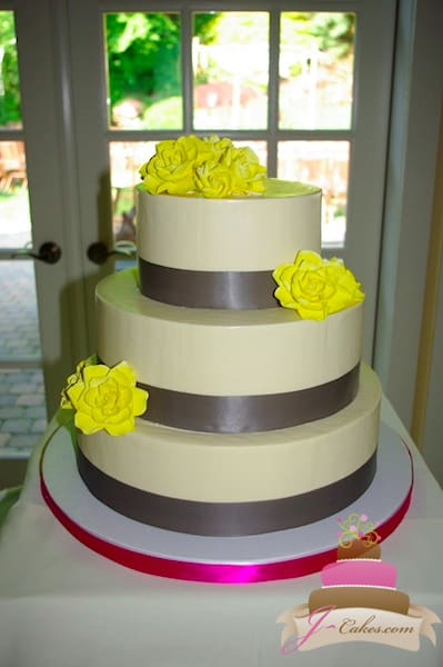 (1094) Yellow Sugar Flower Wedding Cake
