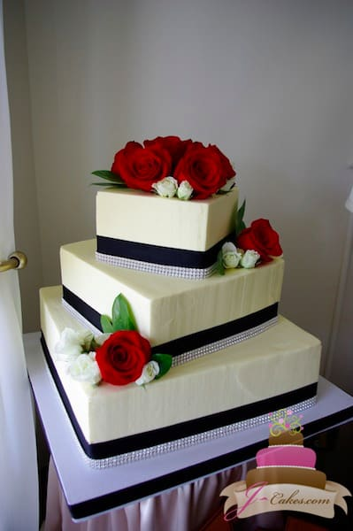 (1096) Black, White, and Red Square Wedding Cake