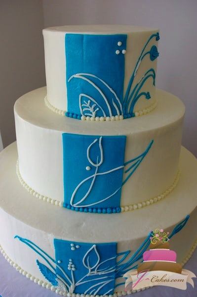 (1097) Blue Floral Panel Wedding Cake