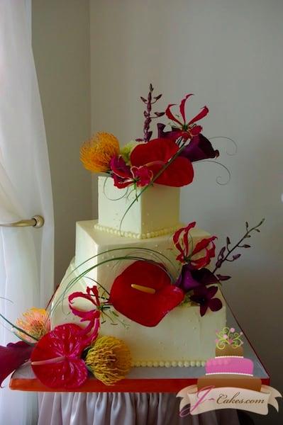 (1099) Funky Floral Cluster Wedding Cake