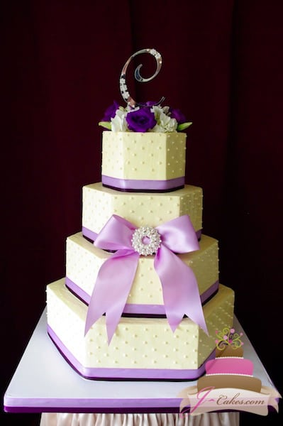 (1101) Hexagonal Wedding Cake with Purple Ribbon and Dots