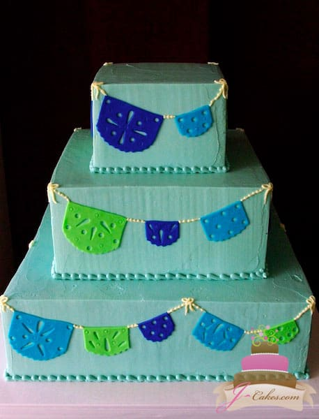 (1102) Fondant Flag Banner Wedding Cake