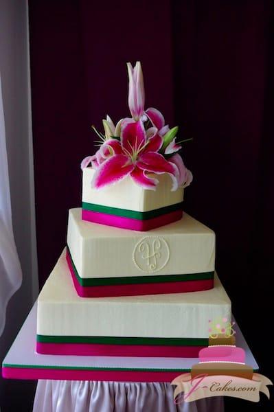 (1103) Watermelon Monogram Wedding Cake