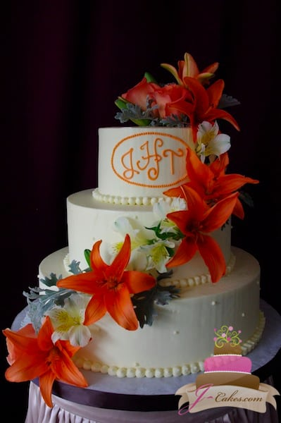 (1106) Orange Lily Wedding Cake