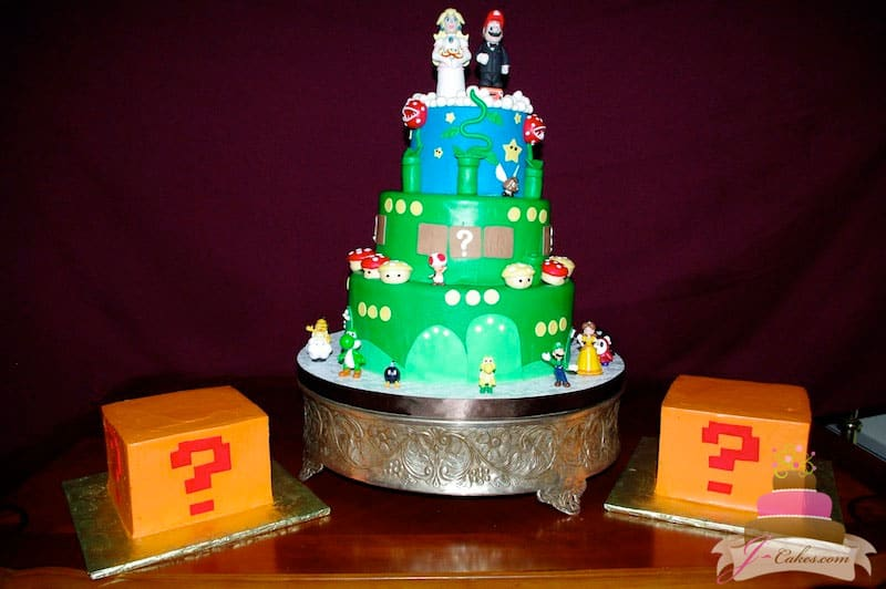 (1107) Mario Theme Wedding Cake