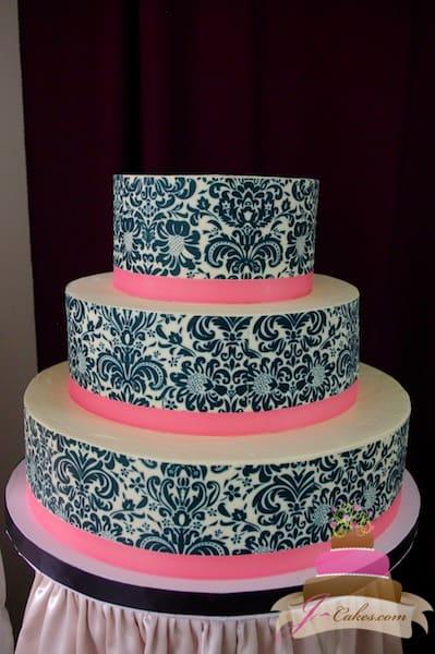 (1108) Damask Print Wedding Cake