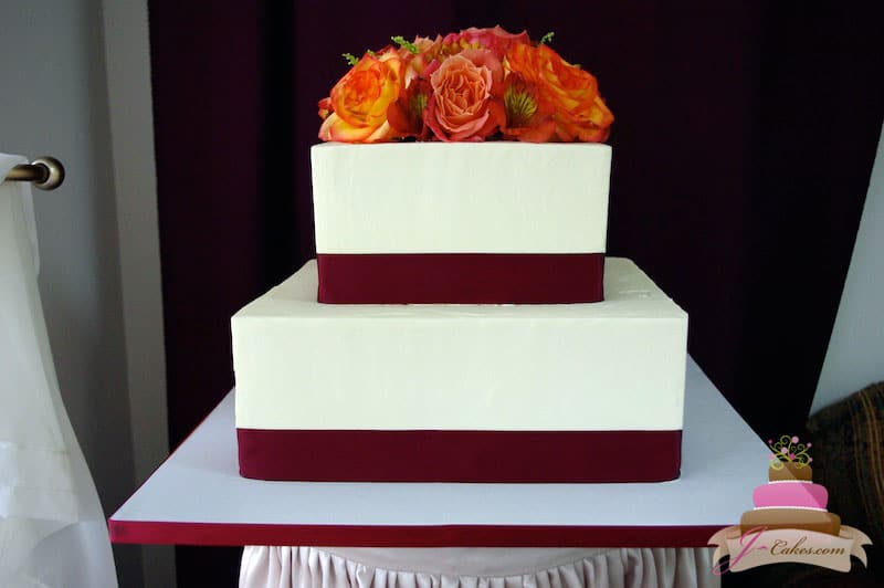 (1109) Simple Square Wedding Cake