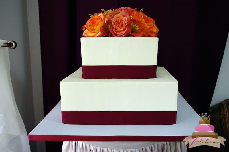 (1109) Simple Square Wedding Cake