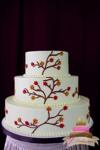 (1111) Sugar Autumn Leaves Wedding Cake