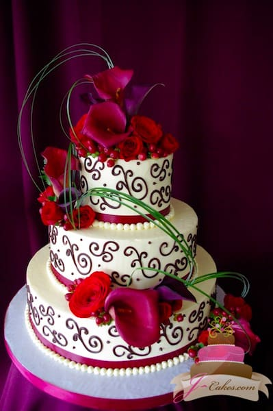 (1115) Red Variety of Scrolls Wedding Cake