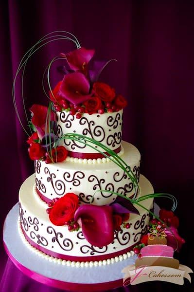 (1115) Red Variety of Scrolls Wedding Cake