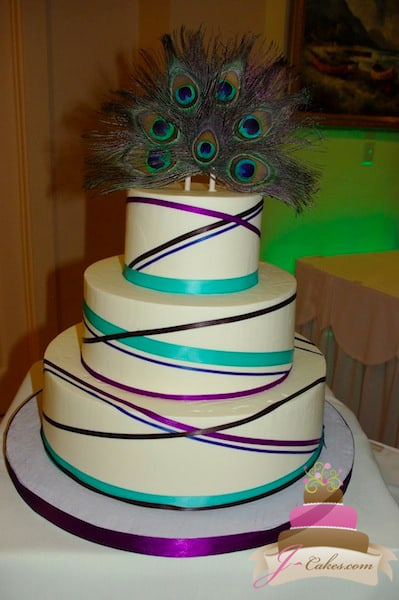 (1116) Criss-Cross Ribbon Peacock Wedding Cake