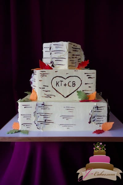 (1117) Square Birch Bark Wedding Cake