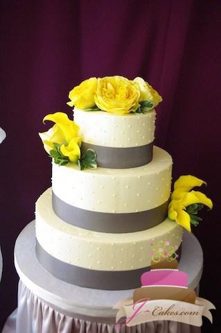 (1027) Yellow and Grey Dot Wedding Cake