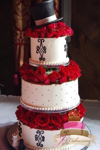(1030) Alice in Wonderland Themed Wedding Cake