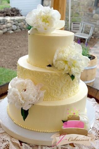 (1033) Paisley Piping Design Wedding Cake