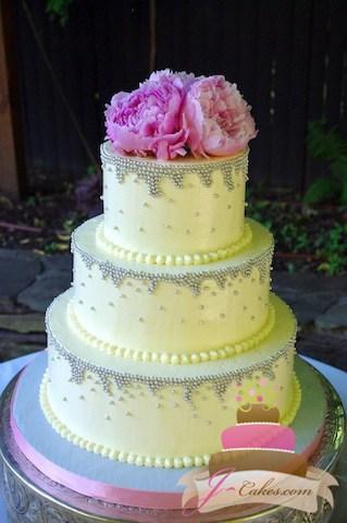 (1036) Silver Dragee Drip Wedding Cake
