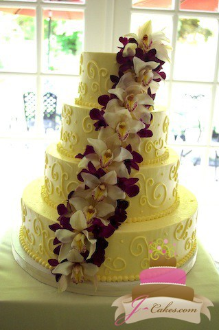 (1039) Orchid Cascade Wedding Cake