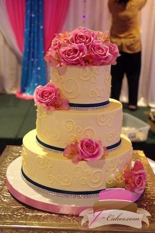 (1040) Variety of Scrolls Wedding Cake with Rhinestones