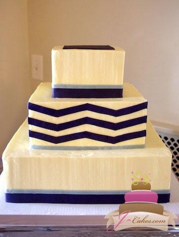 (1044) Purple Chevron Wedding Cake