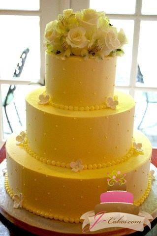 (1049) Wedding Cake with Fondant Flower Border