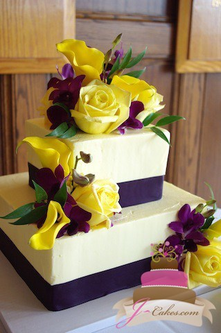 (1054) Purple and Yellow Square Wedding Cake