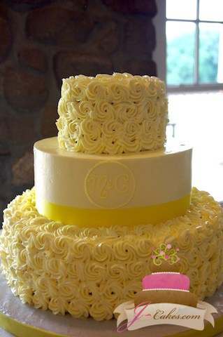 (1055) Buttercream Rosette Wedding Cake