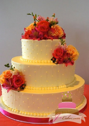 (1061) Swiss Dot Wedding Cake with Fall Flowers