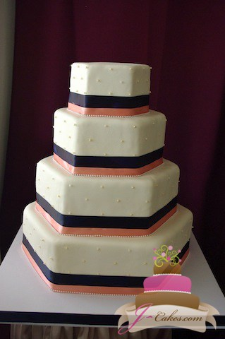 (1064) Hexagonal Wedding Cake with Dots