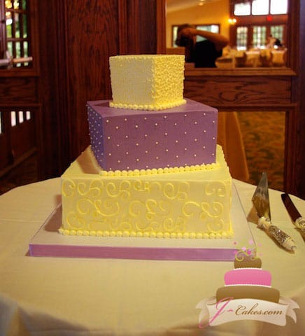(1069) Purple and White Wedding Cake