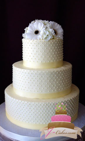 (1076) Dot Wedding Cake with Ivory Ribbon