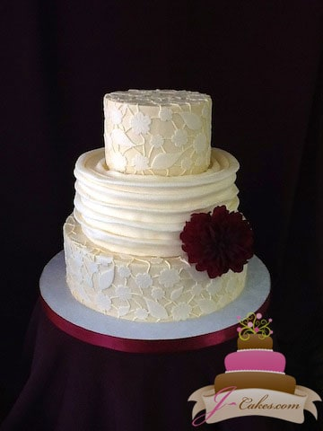 (1085) Fondant Lace Wedding Cake
