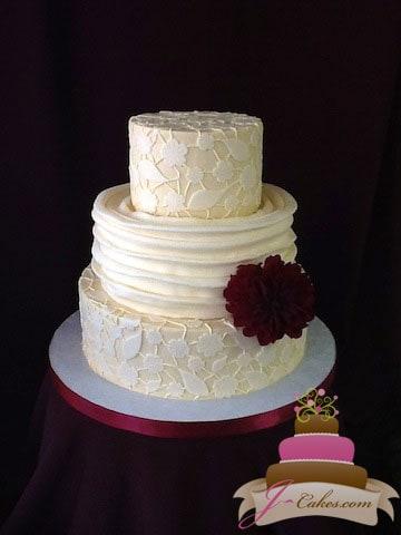 (1085) Fondant Lace Wedding Cake