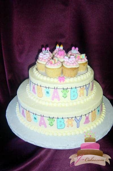 202 Clothesline Baby Shower Cake With Cupcakes Jcakes
